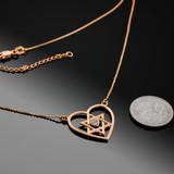 14K Rose Gold Open Heart Star of David Diamond Pave Heart Necklace
