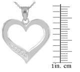 White Gold Open Heart Diamond Pendant Necklace
