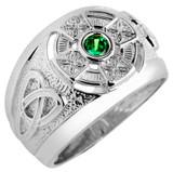 Sterling Silver Celtic Mens Birthstone Ring