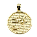 Solid Gold Eye of Horus Round Charm Pendant (13 steps)
