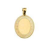 Greek Key Yellow Gold Engravable Oval Pendant
