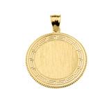 Greek Key Yellow Gold Engravable Round Pendant