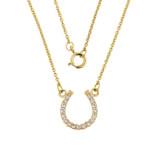 14K Yellow Gold Diamonds Studded Horseshoe Necklace