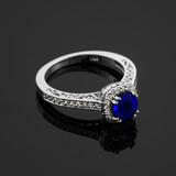 Blue Sapphire White Gold Halo Diamond Pave Engagement Ring
