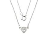 14K White Gold Diamond Dainty Heart Necklace