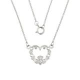 14K White Gold Diamond Claddagh Pendant Necklace