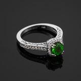 White Gold Halo Pave Diamond Emerald Engagement Ring