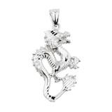White Gold Diamond Cut Dragon Charm Pendant