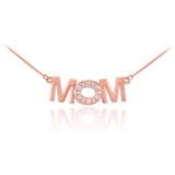 14K Rose Gold MOM Diamond Studded Pendant Necklace