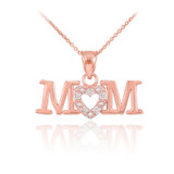 14K Rose Gold MOM Diamond Studded Heart Pendant Necklace
