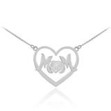 "14K White Gold Diamond Pave Heart ""MOM"" Necklace"