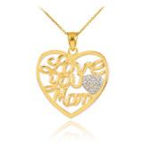 "14K Gold Diamond Pave Heart ""Love You Mom"" Pendant Necklace"