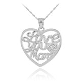 "14K White Gold Diamond Pave Heart ""Love You Mom"" Pendant Necklace"