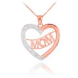 "14K Two-Tone Rose Gold Diamond Half Studded ""Mom"" Heart Pendant Necklace"