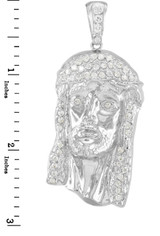 Iced-Out Sterling Silver Jesus Face Men's CZ Pendant