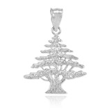Sterling Silver Cedar Tree of Lebanon Charm Pendant Necklace