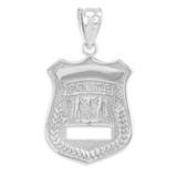 Sterling Silver Police Badge Charm Pendant Necklace