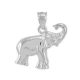 White Gold Elephant Charm Pendant Necklace