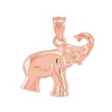 Rose Gold Elephant Charm Pendant Necklace