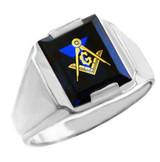 Freemason Blue CZ Square & Compass Silver Masonic Mens Ring