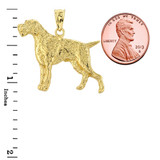 Solid Gold German Pointer Pendant