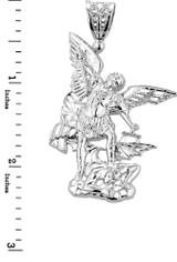 Large Sterling Silver St. Michael vs Devil Pendant