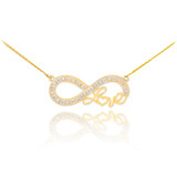 """14k Gold Infinity """"Love"""" Script Necklace with Diamonds"""