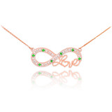 """14k Rose Gold Emerald Infinity """"Love"""" Script Necklace with Diamonds"""