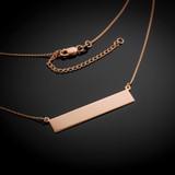 14k Rose Gold Engravable Name Bar Necklace