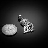 Polished White Gold Owl Pendant Necklace with Diamonds