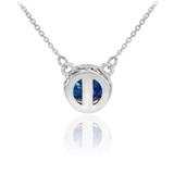 14k White Gold Diamond Blue Sapphire Necklace