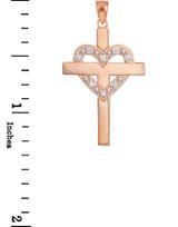 Rose Gold Cross with Diamond Heart Pendant