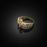 Gold Ankh Cross Nugget Knuckle Ring