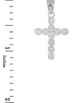 White Gold Diamond Eternity Circle Small Cross Pendant