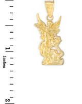 Polished Gold St. Michael Pendant Necklace