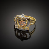 Multi-Tone Gold Quinceanera Imperial Crown Ring