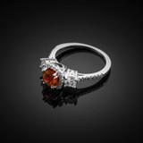 White Gold Garnet Diamond Engagement Ring