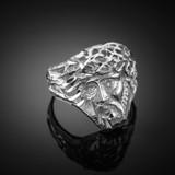 Sterling Silver Jesus Face Diamond Cut Ring