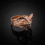 Rose Gold Mountain Ram Aries Ring