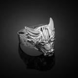 White Gold Bull Taurus Ring