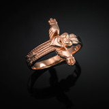 Rose Gold Classic Claddagh Cross Ring