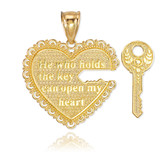 "2pc Gold ""Key of my Heart"" Detachable Pendant"