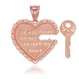 "2pc Rose Gold ""Key of my Heart"" Detachable Pendant"