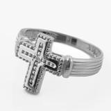 Sterling Silver Rhodium CZ Cross Ring