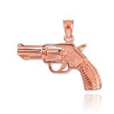 Rose Gold Revolver Gun Pendant Necklace