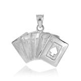 White Gold Poker Royal Flush Pendant Necklace
