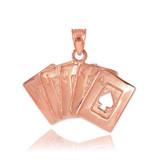 Rose Gold Poker Royal Flush Pendant Necklace