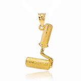 Gold Paint Roller Pendant Necklace