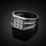 Men's Sterling Silver Square Top CZ Ring