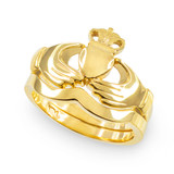 2-Piece Gold Classic Claddagh Engagement Ring Band